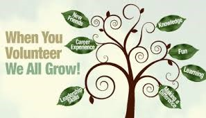 Graphic of Tree with different words on the leaves. Main text says When you Volunteer We All Grow!